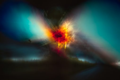 abstract image coloured red, yellow and blue