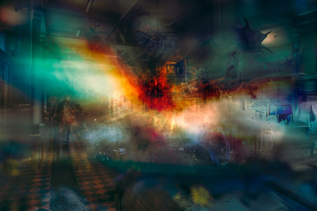Abstract image of people, places and colours